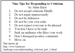Nine Tips for Responding to Criticism by Alain Briot